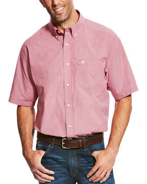 Ariat Men's Red Lindale Short Sleeve Plaid Shirt , Red, hi-res