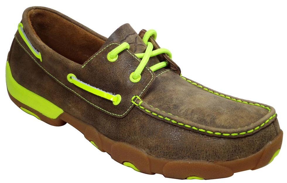 Twisted X Men's Leather Driving Mocs, Brown, hi-res