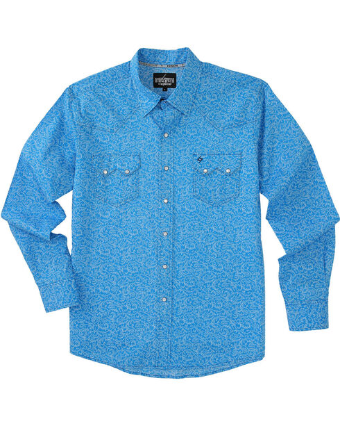 Garth Brooks Sevens by Cinch Men's Blue Cream Snap Long Sleeve Shirt , , hi-res