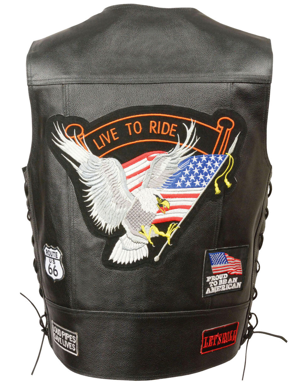 "Milwaukee Leather Men's Side Lace ""Live to Ride"" Patch Vest - 3X, Black, hi-res"
