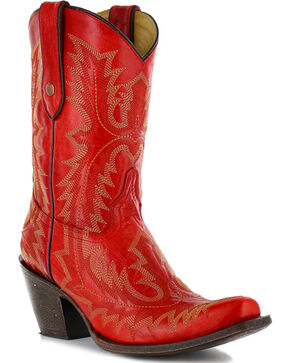 "Corral Women's Picasso 10"" Western Boots - Snip Toe, Red, hi-res"