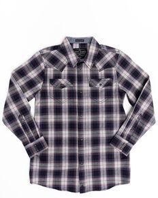 Cody James Boys' Plainsman Heathered Plaid Long Sleeve Western Shirt , Grey, hi-res