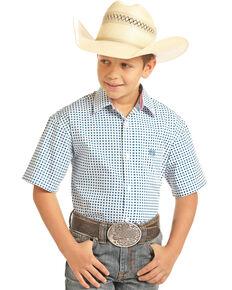 Panhandle Select Boys' Peached Poplin Print Short Sleeve Western Shirt , White, hi-res