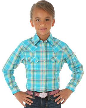 Wrangler Girls' Turquoise Plaid Western Snap Shirt, Turquoise, hi-res