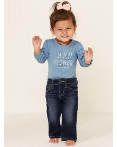 Wrangler Infant Girls' Dark Wash Stitched Pocket Bootcut Jeans , Blue, hi-res