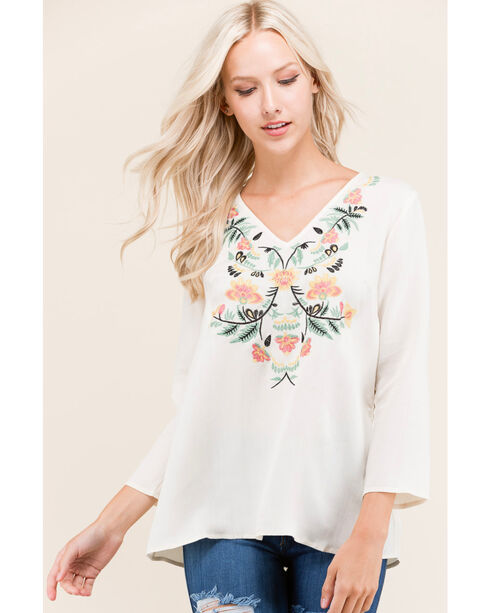 Polagram Women's 3/4 Sleeves Embroidered Top , White, hi-res