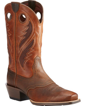 Ariat Men's VentTEK Roughstock Cowboy Boots - Square Toe, Brown, hi-res