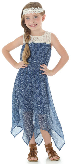 Wrangler Girls' Sleeveless Dress with Crochet and Taping, Navy, hi-res