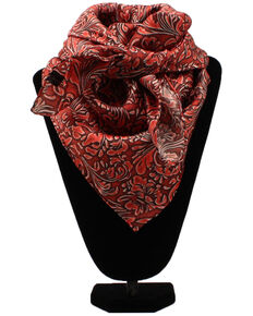 M&F Western Women's Floral & Scrolling Wild Rag Scarf, Red, hi-res
