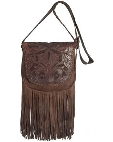 Kobler Leather Women's Brown Tooled Crossbody Bag, Dark Brown, hi-res