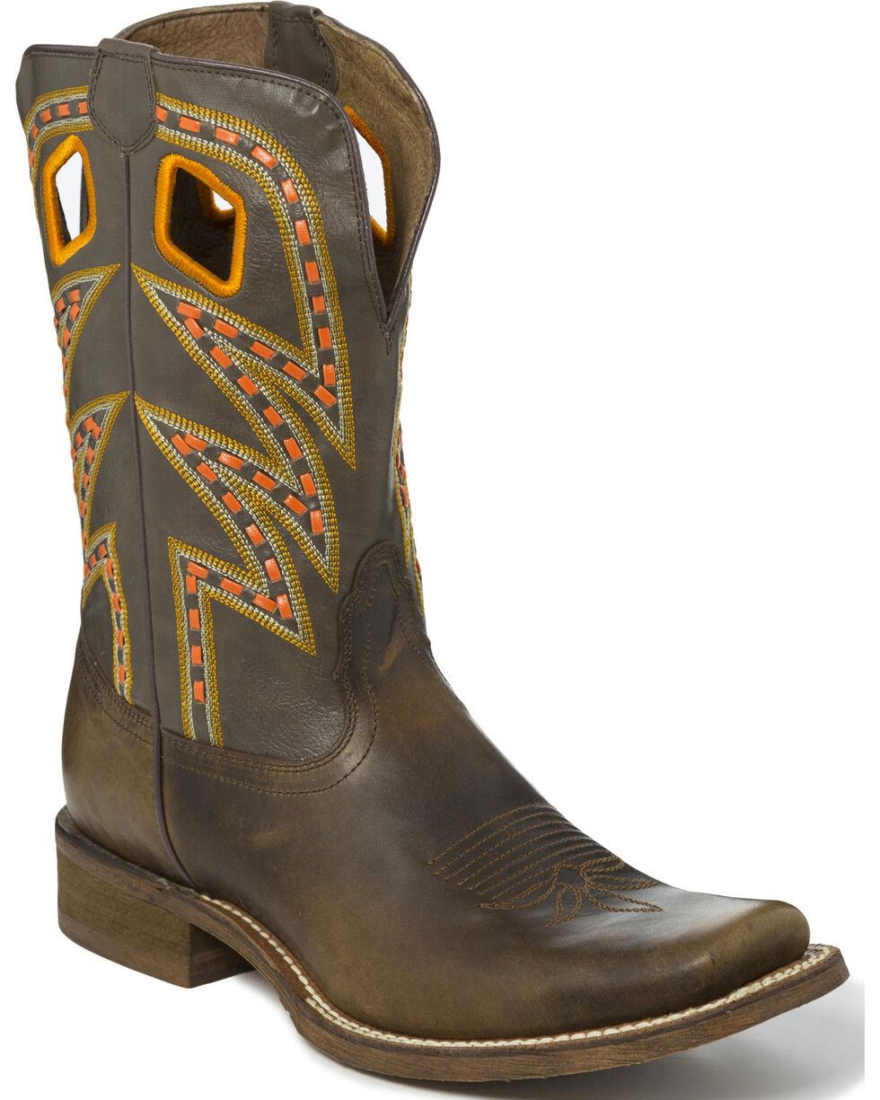 Nocona Men's Zig Zag Saddle Stitch Cowboy Boots - Square Toe, Tan, hi-res