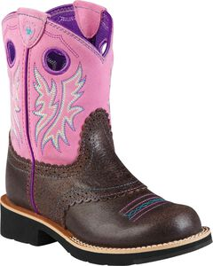 Ariat Girls' Bubblegum Fatbaby Cowgirl Boots, Chocolate, hi-res