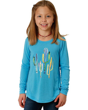 Roper Girls' Turquoise Cactus Print Tee , Turquoise, hi-res