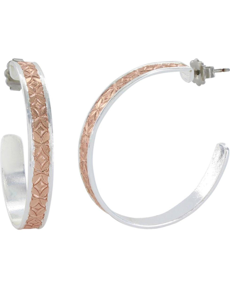 Montana Silversmiths Women's Crosscut Bright Banded Mosaic Hoop Earrings , Multi, hi-res