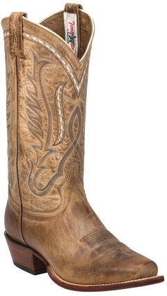 Tony Lama Beige Travis Cowboy Boots - Narrow Square Toe , Beige, hi-res