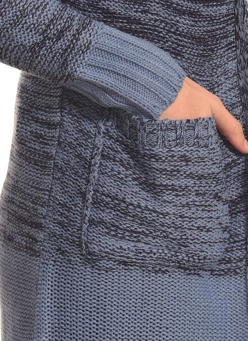 Derek Heart Women's Blue Marled Long Cardigan, Blue, hi-res
