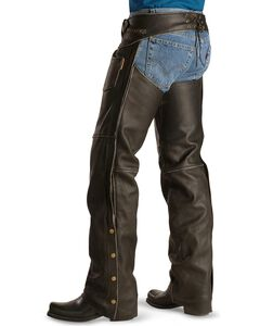 Milwaukee Motorcycle Crazy Horse Leather Chaps, Black, hi-res