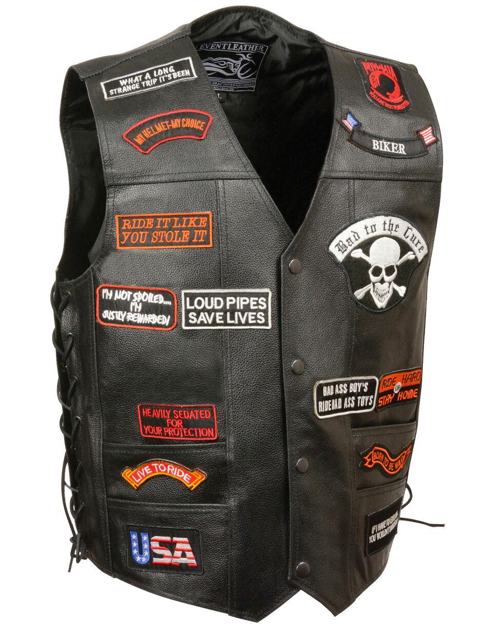 Milwaukee Leather Men's Side Lace Patch Vest - 4X, Black, hi-res