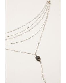 Shyanne Women's Claire Concho Choker Feather Necklace, Silver, hi-res