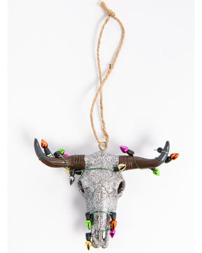 BB Ranch Glitter Cow Skull Ornament, Silver, hi-res