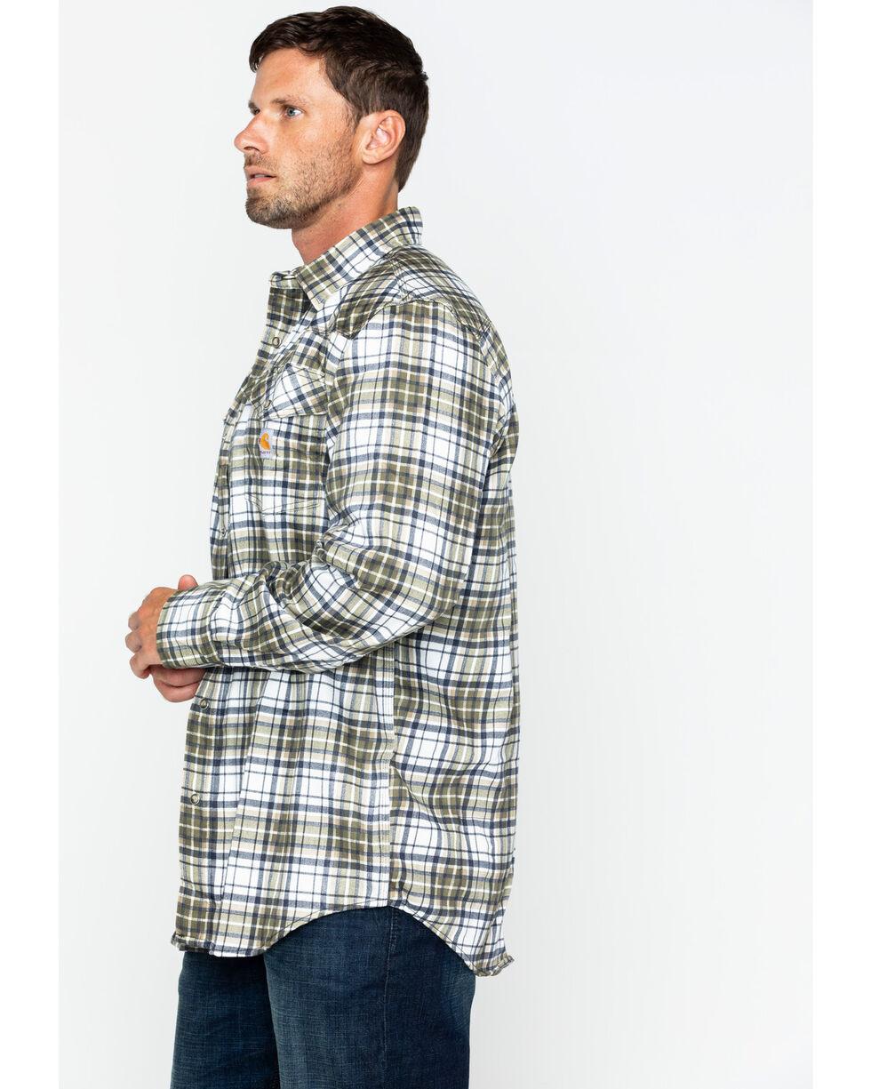 Carhartt Men's Plaid Moss Flame-Resistant Snap-Front Shirt , Moss Green, hi-res