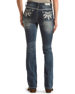 Grace in LA Women's Blue Feather Embroidered Jeans - Boot Cut , Blue, hi-res
