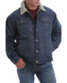 Cinch Men's FR Stretch Denim Sherpa Lined Trucker Work Jacket , Indigo, hi-res
