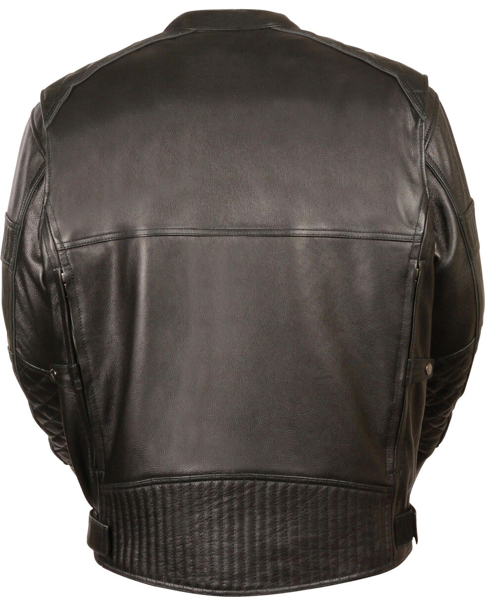 Milwaukee Leather Men's Black Quilted Pattern Scooter Jacket - Big 5X, Black, hi-res