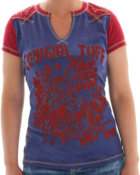 Cowgirl Tuff Women's Graphic Screen Tee, Blue, hi-res