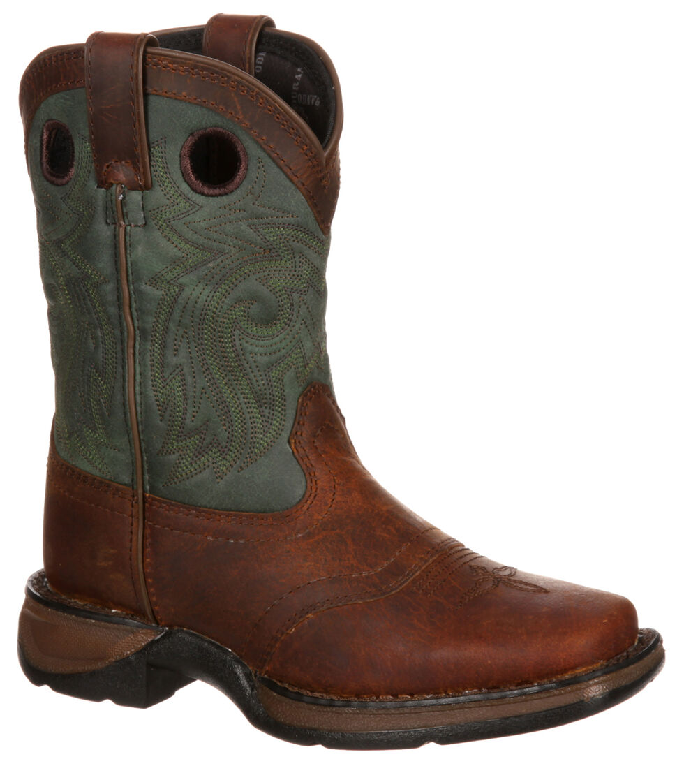 Durango Youth Boys' Saddle Brown Western Boots - Square Toe, Dark Brown, hi-res