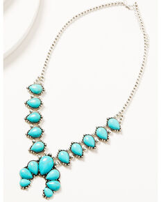 Shyanne Women's Chunky Turquoise & Silver Squash Blossom Necklace, Silver, hi-res