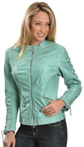 Scully Leather Laced Sleeve Jacket, Blue, hi-res