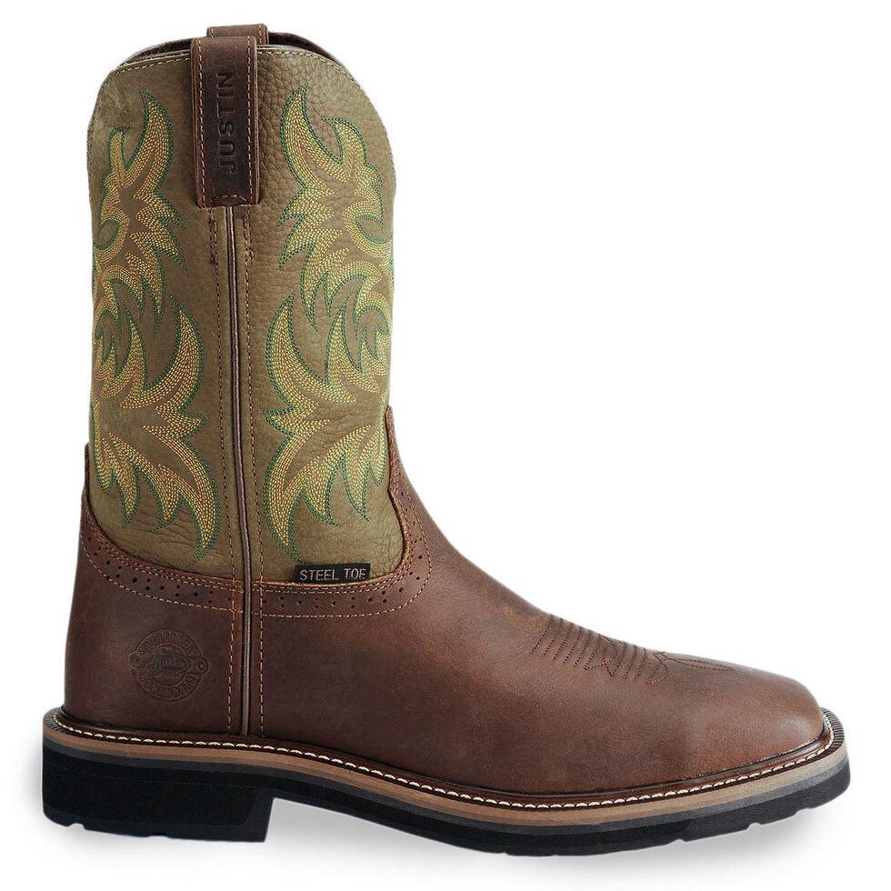 Justin Men's Stampede Driller Brown Work Boots - Steel Toe, Waxed Brn, hi-res