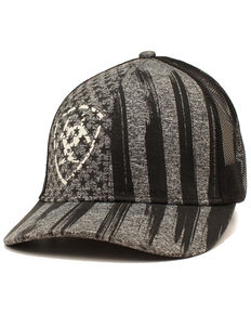 Ariat Men's Grey Vertical Flag Print Mesh Cap , Grey, hi-res
