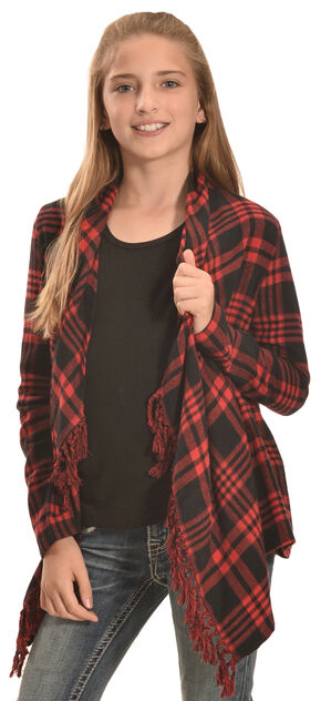 Derek Heart Girls' Red Plaid Flannel Fringe Cardigan , Red, hi-res