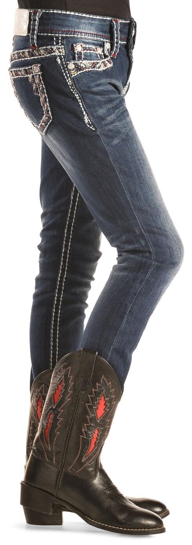 Grace in LA Girls' Embroidered Border Skinny Jeans , Indigo, hi-res