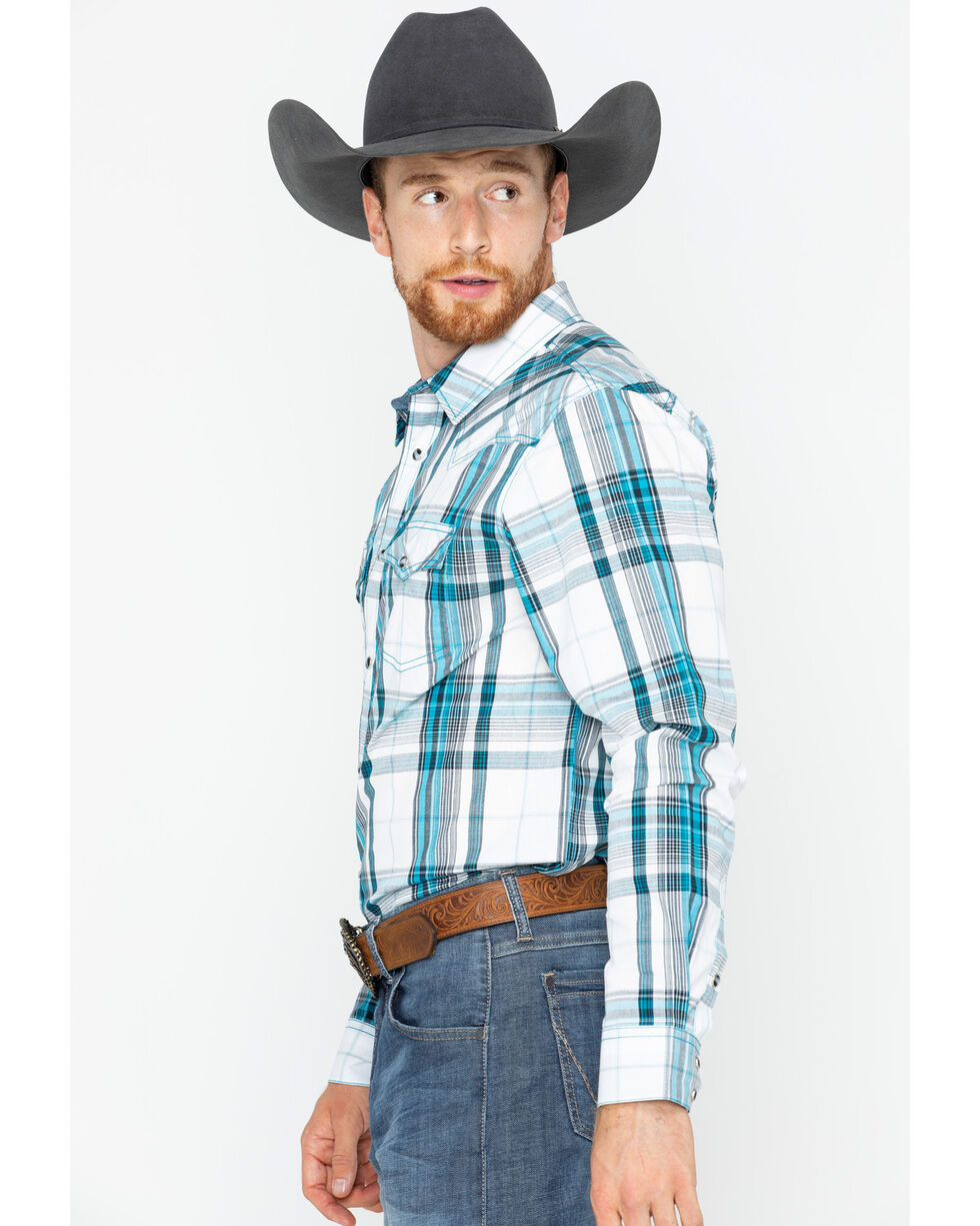 Cody James Men's Rory Plaid Long Sleeve Western Snap Shirt, White, hi-res