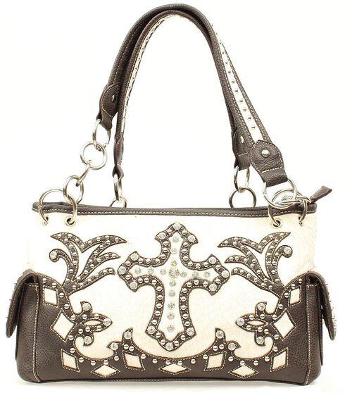 Blazin Roxx Bedecked Fancy Cross Satchel Bag, Cream, hi-res