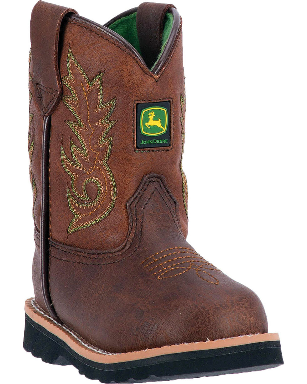 John Deere Toddler Boys' Mid-Calf Pull On Boots - Round Toe , Brown, hi-res