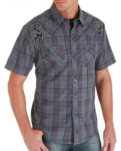 Wrangler Rock 47 Men's Embroidered Plaid Short Sleeve Western Shirt, Grey, hi-res