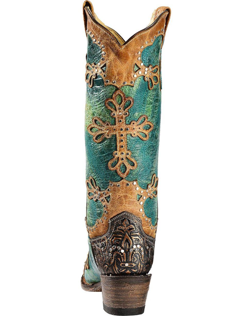 Ferrini Embossed Diva Studded Cross Overlay Cowgirl Boots - Snip Toe, Turquoise, hi-res