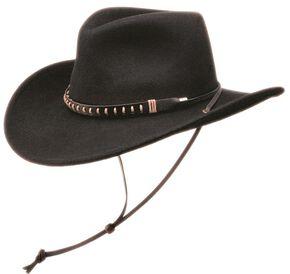 Black Creek Crushable Wool Felt Hat w/ Chincord, Black, hi-res