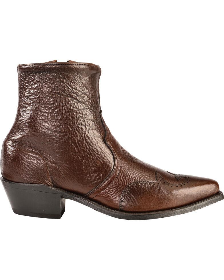Abilene Western Wingtip Zipper Boots, Chocolate, hi-res