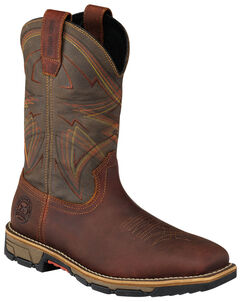 Red Wing Irish Setter Marshall Olive Green Work Boots - Soft Square Toe  , Brown, hi-res