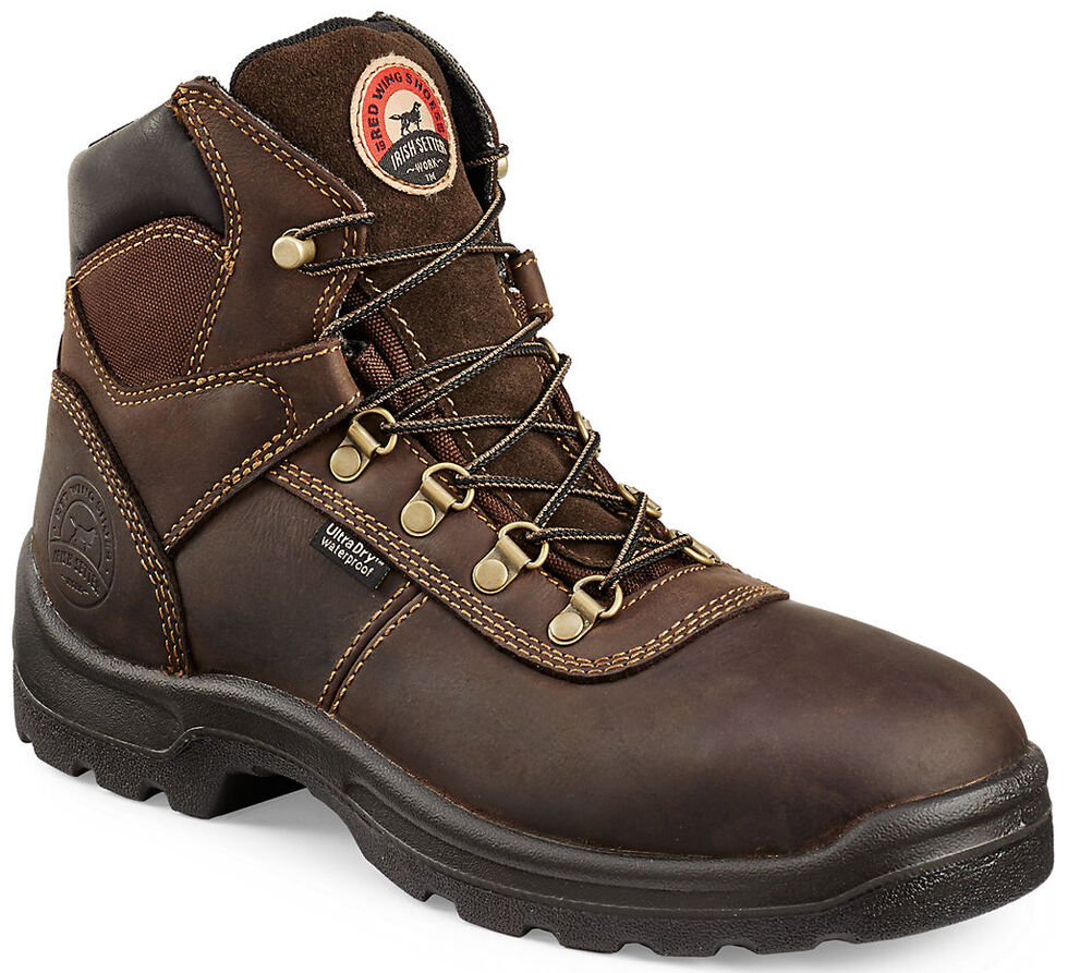 """Irish Setter by Red Wing Shoes Men's Ely Brown Hiker 6"""" Work Boots - Steel Toe, Brown, hi-res"""