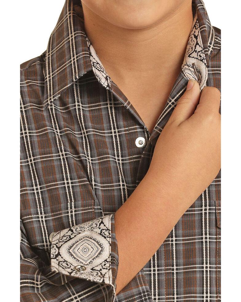 Panhandle Select Boys' Brown Grid Plaid Long Sleeve Western Shirt , Brown, hi-res