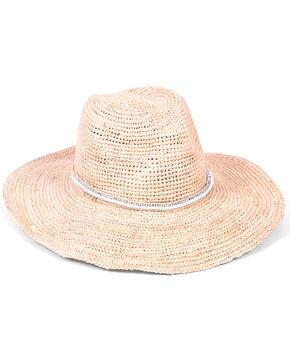 ále by Alessandra Women's Cody Beaded Band Crochet Raffia Hat, White, hi-res