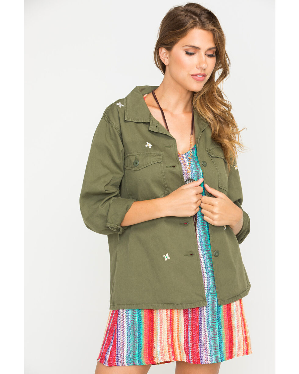 White Crow Women's Daisy Embroidered Military Jacket, Olive, hi-res