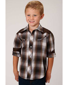 Roper Boys' Brown Plaid Retro Fancy Yoke Long Sleeve Western Shirt , Brown, hi-res