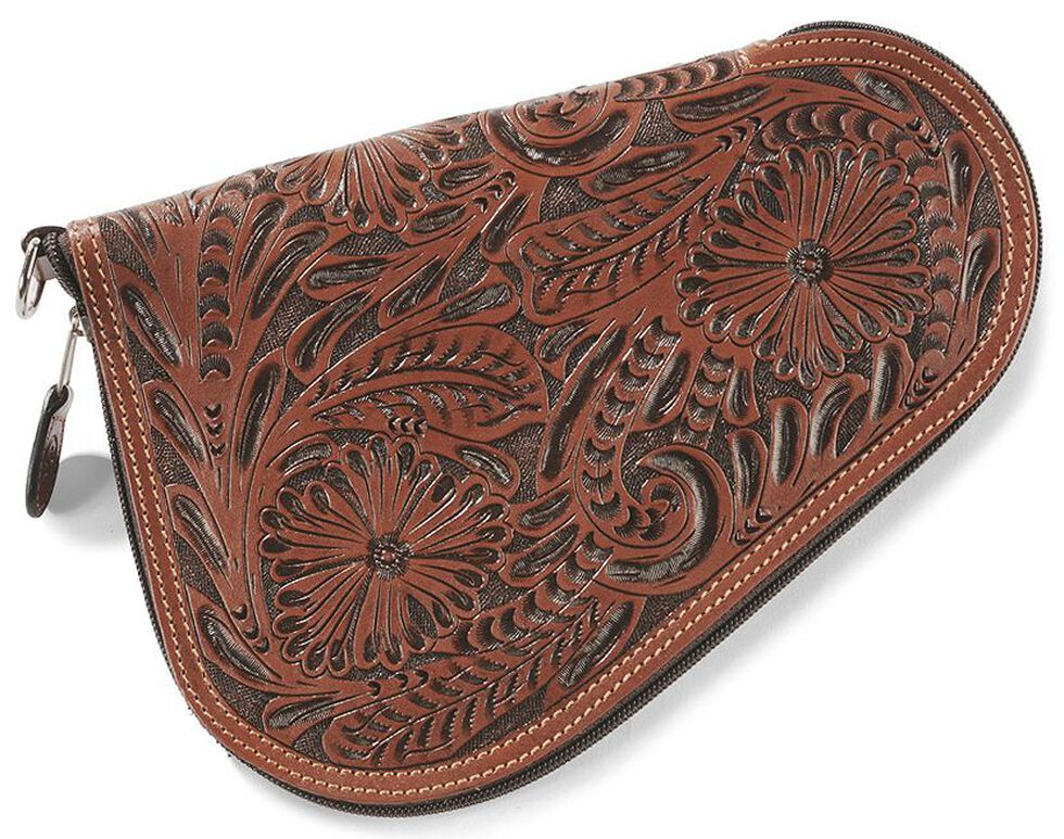 Small Floral Tooled Leather Pistol Case, Tan, hi-res